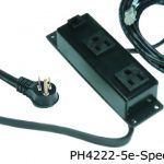 4000 series power distribution unit with two outlets and 5 e cat jack outlet spread out in a black finish.