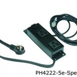4000 series power distribution unit with two outlets in a black finish and 5 e jack outlets spaced.