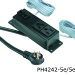 4000 series power distribution unit with two outlets and 5 e cat data jacks in a black finish.