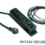 7000 series power distribution unit with three outlets and one phone jack and one U S B outlet in a black finish.