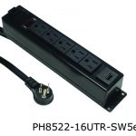 8000 series power distribution unit with five outlets and one U S B outlet and an on off switch in a black finish.