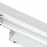 Single staggered lamp strip fluorescent light fixture with a white finish.