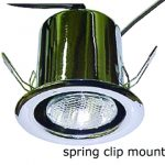 Classic downlight fixture with spring clip mount and polished chrome finish.