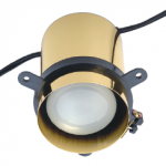 Trimless downlight fixture with a polished brass finish.