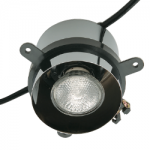 Trimless downlight fixture with a polished chrome finish.