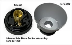 Intermediate base socket assembly for item 337 dash 280. Shown are the socket and reflector.