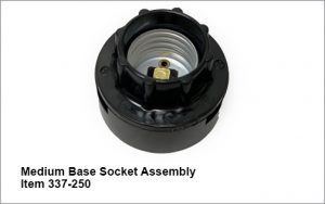 Fully assembled medium base socket assembly for item 337 dash 250.