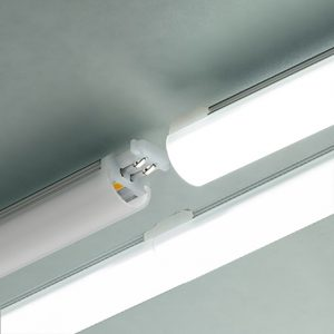 Edge L E D slim linear fixture disconnected and connected showing no dark spots between fixtures.