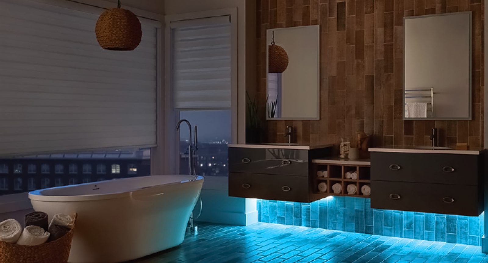 u v c cabinet light in luxury bathroom